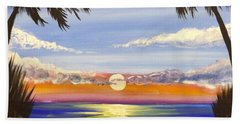 Beach Sheet featuring the painting Twin Palms by Darren Robinson