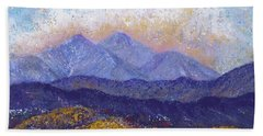Beach Sheet featuring the painting Twin Peaks Above The Fruited Plain by Margaret Bobb