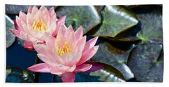 Two Pink Waterlilies Beach Sheet