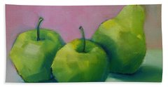 Beach Towel featuring the painting Two Apples And One Pear by Michelle Abrams