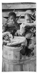 Two Boys Eating Watermelon Beach Sheet by Underwood Archives
