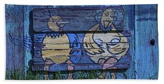 Two Chickens Mural Beach Towel