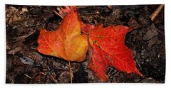Two Fallen Autumn Leaves Beach Sheet