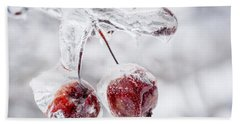 Two Frozen Crab Apples  Beach Towel