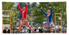 Two Girls Scottish Dancing Art Prints Beach Sheet