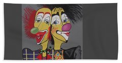 Beach Towel featuring the painting Two Heads Are Better Then One by Nora Shepley
