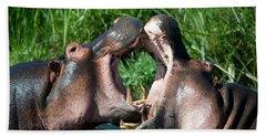 Two Hippopotamuses Hippopotamus Beach Towel by Panoramic Images