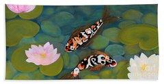 Two Koi Fish And Lotus Flowers Beach Towel