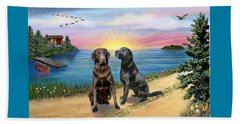 Two Labs At The Lake Beach Towel