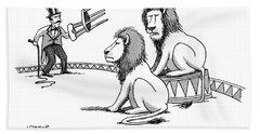 Two Lions Talk As A Lion Tamer Shakes A Chair Beach Towel