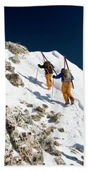 Two Men Backcountry Skiing Hike Beach Towel