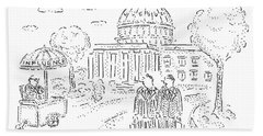 Two Men Speak In Front Of The Capitol And Look Beach Towel