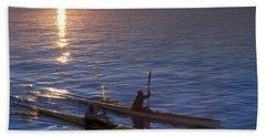 Two Paddlers In Sea Kayaks At Sunrise Beach Towel