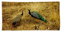Two Peacocks Yaking Beach Towel by Amazing Photographs AKA Christian Wilson