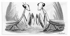 Two Praying Mantises Facing Each Other Beach Towel