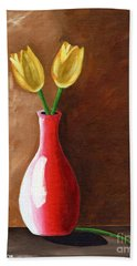Two Tulips And A Pink Rose Beach Towel by Laura Forde