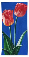 Two Tulips Beach Towel by Janice Dunbar