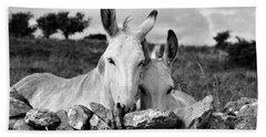 Two White Irish Donkeys Beach Towel