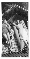 Two Women Sunbathing Beach Towel