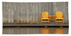 Two Wooden Chairs On An Old Dock Beach Sheet
