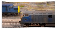 Beach Sheet featuring the photograph Two Yellow Blue British Rail Model Railway Train Engines by Imran Ahmed