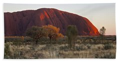 Uluru Ayers Rock At Sunset Beach Sheet by Venetia Featherstone-Witty