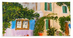 Beach Towel featuring the painting Umbera Courtyard by Pamela  Meredith