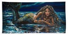 Under A Crescent Moon Mermaid Pillow Beach Towel