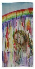 Beach Towel featuring the painting Under A Crying Rainbow by Anna Ruzsan