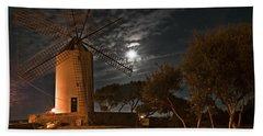 Vintage Windmill In Es Castell Villacarlos George Town In Minorca -  Under The Moonlight Beach Sheet by Pedro Cardona