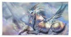 Unicorn Of Peace Beach Towel by Carol Cavalaris