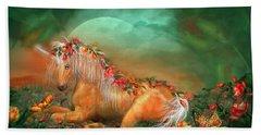 Unicorn Of The Roses Beach Sheet by Carol Cavalaris