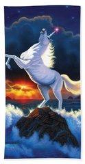 Unicorn Raging Sea Beach Towel