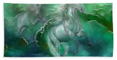 Unicorns Of The Sea Beach Towel by Carol Cavalaris