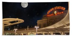 Union Station Denver Under A Full Moon Beach Towel by Juli Scalzi