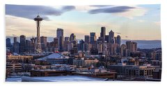 Unique Seattle Evening Skyline Perspective Beach Towel