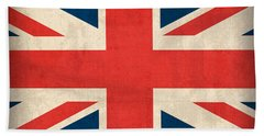 United Kingdom Union Jack England Britain Flag Vintage Distressed Finish Beach Towel by Design Turnpike