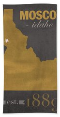 University Of Idaho Vandals Moscow College Town State Map Poster Series No 046 Beach Towel by Design Turnpike