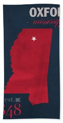 University Of Mississippi Ole Miss Rebels Oxford College Town State Map Poster Series No 067 Beach Towel