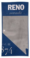 University Of Nevada Reno Wolfpack College Town State Map Poster Series No 072 Beach Towel