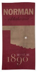 University Of Oklahoma Sooners Norman College Town State Map Poster Series No 083 Beach Towel