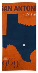 University Of Texas At San Antonio Roadrunners College Town State Map Poster Series No 111 Beach Towel by Design Turnpike