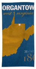 University Of West Virginia Mountaineers Morgantown Wv College Town State Map Poster Series No 124 Beach Towel