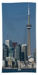 Up Close And Personal - Cn Tower Toronto Harbor And Skyline From A Boat Beach Towel