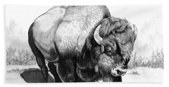 Up Close And Personal With Bison Beach Towel by Cheryl Poland