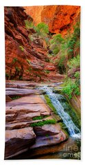 Upper Elves Chasm Cascade Beach Towel by Inge Johnsson