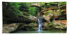D10a-113 Upper Falls At Old Mans Cave Hocking Hills Photo Beach Towel