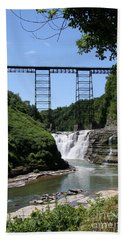Upper Falls Of The Genesee River  Beach Sheet by Christiane Schulze Art And Photography