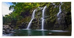 Upper Waikani Falls - The Stunningly Beautiful Three Bears Found In Maui. Beach Towel