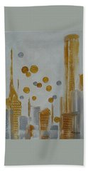 Beach Towel featuring the painting Urban Polish by Judith Rhue